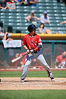 Daniel Castro (1) of the Albuquerque Isotopes bats against the Salt Lake Bees at Smith's Ballpark on April 22, 2018 in Salt Lake City, Utah. The Bees defeated the Isotopes 11-9. (Stephen Smith/Four Seam Images)