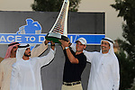 Martin Kaymer winner of the Race to Dubai lifts the trophy aloft at the presentation ceremony after the Final Day of the Dubai World Championship, Earth Course, Jumeirah Golf Estates, Dubai, 28th November 2010..(Picture Eoin Clarke/www.golffile.ie)