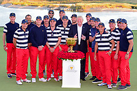 Team USA poses with President Trump with the Presidnets Cup Trophy after winning the 2017 President's Cup, Liberty National Golf Club, Jersey City, New Jersey, USA. 10/1/2017. <br /> Picture: Golffile | Ken Murray<br /> <br /> All photo usage must carry mandatory copyright credit (&copy; Golffile | Ken Murray)