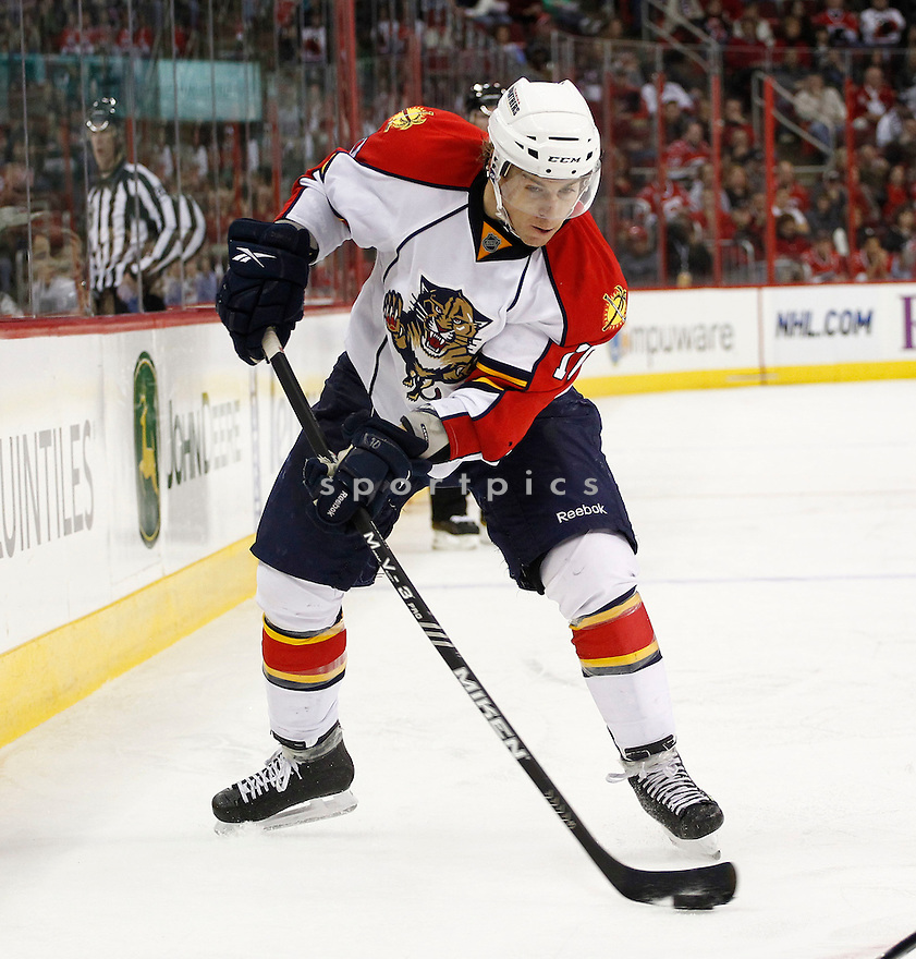 DAVID BOOTH, of the Florida Panthers in action during the Panthers game against the Carolina Hurricanes on March 1, 201, at the RBC Center in Raleigh, NC. The Hurricanes beat the Panthers 2-1.