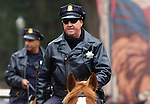 San Francisco mounted police patrol in Golden Gate Park