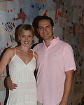 """Posing on the stage after the play - Guiding Light's Nancy St. Alban and Paul Anthony Stewart """"Michelle  & Danny Santos"""" star in the unromantic romantic comedy - Hate Mail from August 2 thru August 12, 2007 at Summerstage New York in Fayetteville, New York. (the play was fun and enjoyable) - Nancy's mom Madge and dad Haswell came to see the play. This fall Paul can be seen starring in the new musical """"The Family Fiorelli"""" in New York City. (Photos by Sue Coflin/Max Photos) - 917-647-8403"""