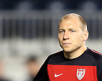 Brad Guzan #18 of the USA MNT during an international friendly match against Colombia at PPL Park, on October 12 2010 in Chester, PA. The game ended in a 0-0 tie.