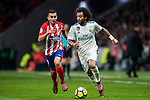 Marcelo Vieira Da Silva of Real Madrid is followed by Angel Correa of Atletico de Madrid during the La Liga 2017-18 match between Atletico de Madrid and Real Madrid at Wanda Metropolitano  on November 18 2017 in Madrid, Spain. Photo by Diego Gonzalez / Power Sport Images