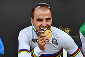 9th September 2017, Smithfield Forest, Cairns, Australia; UCI Mountain Bike World Championships; First place Nino Schurter (SUI) riding for Scott-Sram MTB Racing Team enjoys his gold medal on the podium for the elite mens cross country race;