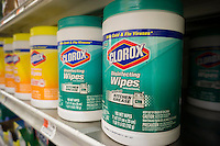 Containers of Clorox disinfecting wipes are seen on a supermarket shelf on Wednesday, November 12, 2014. Sales of Clorox disinfectant wipes rose 20 percent in October on the basis of the start of the flu season and consumer fears about the Ebola virus. (© Richard B. Levine)