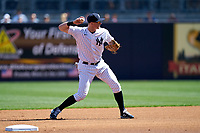 New York Yankees second baseman DJ LeMahieu (26) throws to first base during a Spring Training game against the Toronto Blue Jays on February 22, 2020 at the George M. Steinbrenner Field in Tampa, Florida.  (Mike Janes/Four Seam Images)