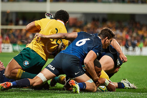 17.09.2016. Perth, Australia.  Will Genia of the Qantas Wallabies scores a try during the Rugby Championship test match between the Australian Qantas Wallabies and Argentina's Los Pumas from NIB Stadium - Saturday 17th September 2016 in Perth, Australia.