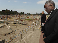 Cardinal Robert Sarah., President of the Pontifical Council COR ANUM, at Sichigahama, near Sendai, Miyagi Prefecture,  Japan.  The Cardinal was touring the Tsunami hit areas around Sendai, Japan.<br />