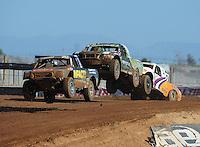 Apr 16, 2011; Surprise, AZ USA; LOORRS driver Matt Loiodice (20) leads Cameron Steele (16) and Jacob Person (92) during round 3 at Speedworld Off Road Park. Mandatory Credit: Mark J. Rebilas-.