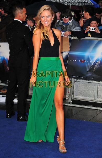 Kimberley Garner<br /> 'Man Of Steel' UK film premiere, Empire cinema, Leicester Square, London, England.<br /> 12th June 2013<br /> full length black halterneck top green skirt slit split silver shoes <br /> CAP/BF<br /> &copy;Bob Fidgeon/Capital Pictures