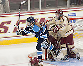 Karissa Kirkup (Maine - 11), Meagan Mangene (BC - 24) - The Boston College Eagles defeated the visiting University of Maine Black Bears 5 to 1 on Sunday, October 6, 2013, in their Hockey East season opener at Kelley Rink in Conte Forum in Chestnut Hill, Massachusetts.