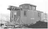 RGS caboose #0400 in a yard, probably Ridgway.<br /> RGS