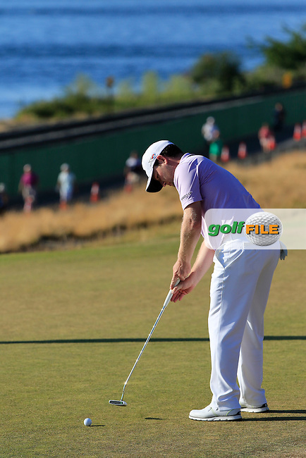 Branden GRACE (RSA) putts on the 16th green  during Sunday's Final Round of the 2015 U.S. Open 115th National Championship held at Chambers Bay, Seattle, Washington, USA. 6/22/2015.<br /> Picture: Golffile | Eoin Clarke<br /> <br /> <br /> <br /> <br /> All photo usage must carry mandatory copyright credit (&copy; Golffile | Eoin Clarke)