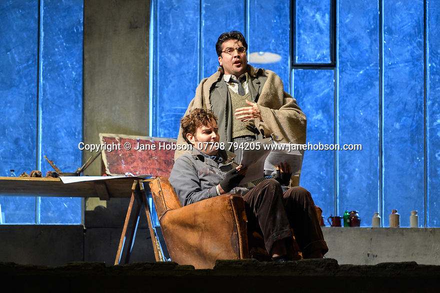 "London, UK. 24.11.2018. English National Opera present their fourth revival of Jonathan Miller's production of Puccini's ""La Boheme"", in which Natalya Romaniw makes her ENO debut. Cast is: Natalya Romaniw (Mimi), Jonathan Tetelman (Rodolfo), Nicholas Lester (Marcello), Simon Butteriss (Benoit/Alcindoro), Nadine Benjamin (Musetta), David Soar (Colline), Bozidar Smiljanic (Schaunard). Picture shows: Nicholas Lester (Marcello), Jonathan Tetelman (Rodolfo). Photograph © Jane Hobson."