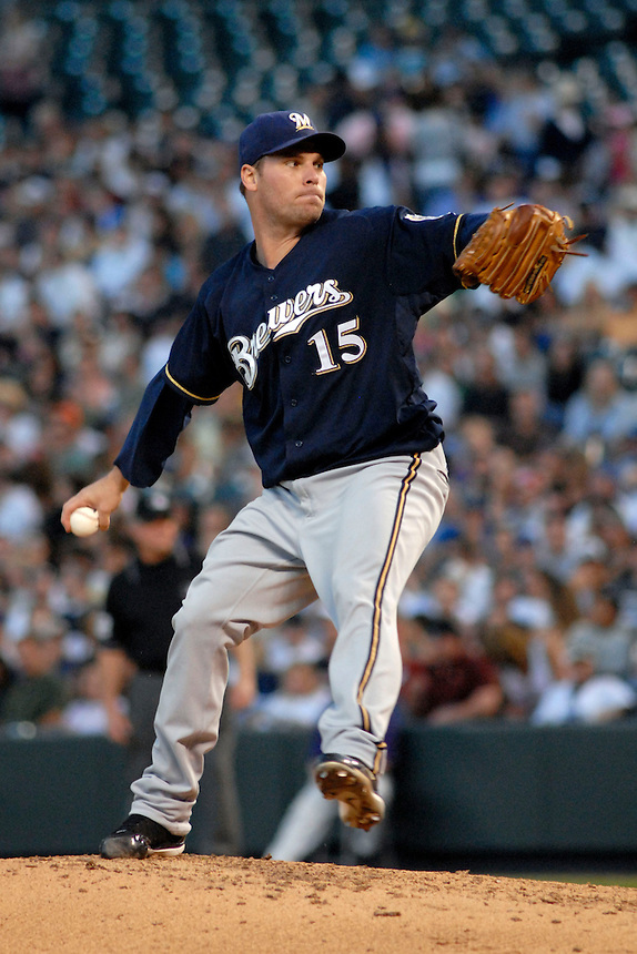 06 June 08: Milwuakee Brewers pitcher Ben Sheets delivers a pitch against the Colorado Rockies. The Rockies defeated the Brewers 6-4 at Coors Field in Denver, Colorado on June 6, 2008. For EDITORIAL use only
