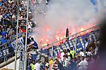 14.04.2018, wirsol-Rhein-Neckar-Arena, Sinsheim, GER, 1. FBL, TSG 1899 Hoffenheim vs Hamburger SV, im Bild Bengalos Bengalische Feuer im Hamburger Block<br /> <br /> Foto &copy; nordphoto / Fabisch