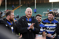Matt Garvey of Bath Rugby speaks to his team-mates in a huddle after the match. Aviva Premiership match, between Bath Rugby and Sale Sharks on February 24, 2018 at the Recreation Ground in Bath, England. Photo by: Patrick Khachfe / Onside Images