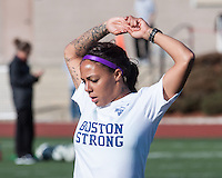 Boston Breakers forward Sydney Leroux (2) stretches before the game in a Breaker's Boston Strong t-shirt.  In a National Women's Soccer League Elite (NWSL) match, the Boston Breakers defeated  Chicago Red Stars 4-1, at the Dilboy Stadium on May 4, 2013.