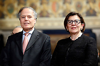 Minister of Foreign Affairs Enzo Moavero Milanesi and Minister of Defense Elisabetta Trenta<br /> Rome December 19th 2018. Quirinale. Traditional exchange of Christmas wishes between the President of the Republic and the institutions.<br /> Foto Samantha Zucchi Insidefoto