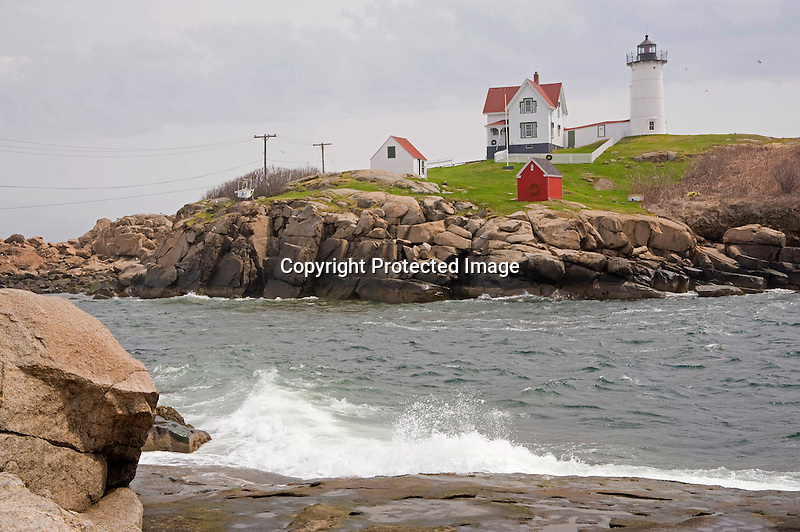 Nubble Lighthouse on a Foggy Morning on the Coast of Maine
