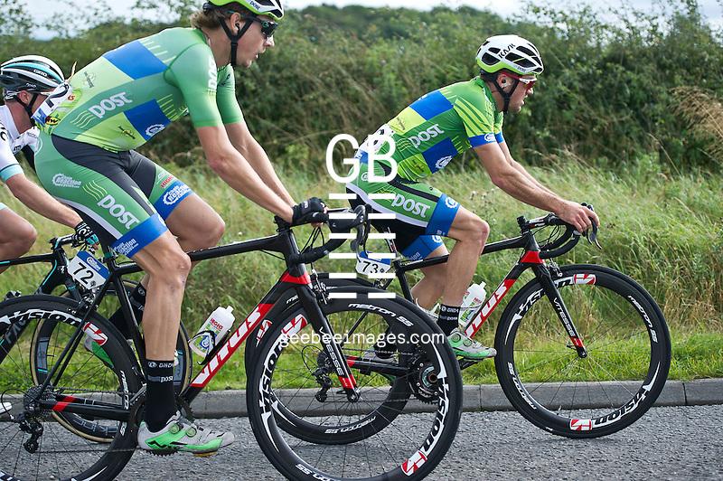 2016 Tour of Britain<br /> Stage 1, Glasgow - Castle Douglas<br /> 4 September 2016<br /> Jasper BOVENHUIS, Emiel WASTYN, An-Post Chain Reaction