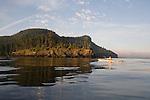 Sea Kayakers, San Juan Islands, Cypress Island, Rosario Strait, Puget Sound, Washington State, Pacific Northwest, USA.