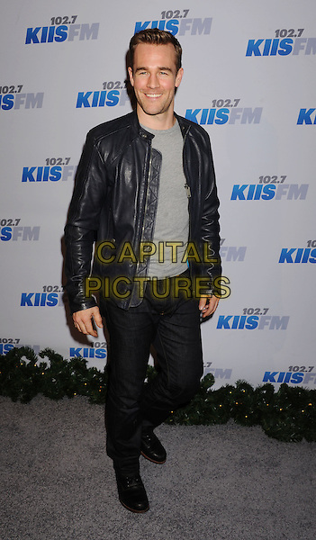 James Van Der Beek.The KIIS FM's Jingle Ball 2012 held at Nokia Theatre L.A. Live in Los Angeles, California, USA..December 3rd, 2012.full length black leather jacket grey gray top jeans denim.CAP/ROT/TM.©Tony Michaels/Roth Stock/Capital Pictures