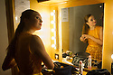 London, UK. 19.09.2014. Nancy Osbaldeston, in her dressing room in the Lilian Baylis Studio, Sadler's Wells, London, UK.   Nancy, (winner of ENB's Emerging Dancer Competition 2013) performs in a solo choreographed for her by English National Ballet's Associate Artist George Willamson, as part of the Constella Ballet & Orchestra's Triple Bill. Photograph © Jane Hobson.