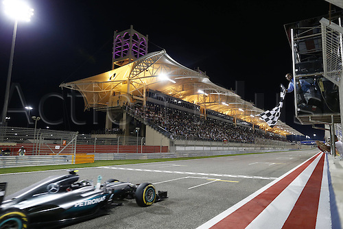 03.04.2016. Sakhir, Bahrain. F1  Grand Prix of Bahrain. Winner 6 Nico Rosberg (GER, Mercedes AMG Petronas Formula One Team crosses the finish line