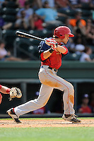 Left fielder Alec Keller (40) of the Hagerstown Suns, in a game against the Greenville Drive on May 12, 2015, at Fluor Field at the West End in Greenville, South Carolina. Greenville won, 4-0. (Tom Priddy/Four Seam Images)