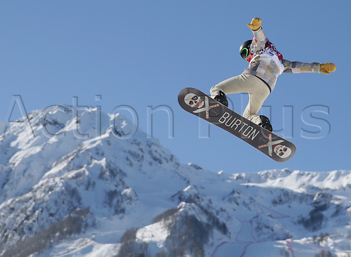 04.02.2014. Sochi, Russia.  Shaun White of USA competes during the Snowboard Slopestyle Official Training in Rosa Khutor Extreme Park in Sochi, Russia, 04 February 2014. The Olympic Winter Games 2014 in Sochi run from 07 to 23 February 2014.