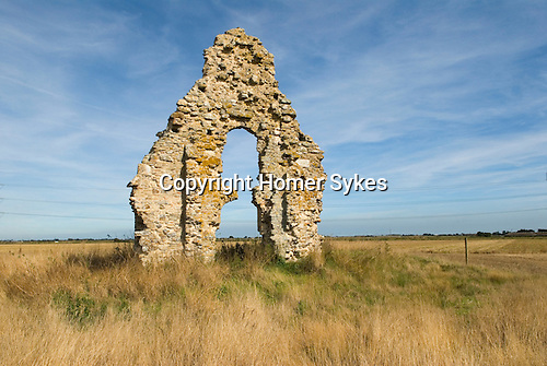 Romney Marsh, Kent. Lost villages of Romney Marsh. Midley church all that now remains of the village.
