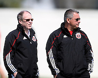 Kevin Payne and Dave Kasper of D.C. United during a training session in Hapgood Stadium on the campus of the Citadel,on March 11 2011, in Charleston, South Carolina