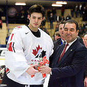 Carey Price (Anahim Lake, BC - Tri-City Americans) was named a Media All-Star, Directorate Goaltender and MVP. Team Canada (gold), Team Russia (silver) and Team USA line up for the individual awards and team medal presentations following Team Canada's 4-2 victory over Team Russia to win the gold in the 2007 World Championship on Friday, January 5, 2007 at Ejendals Arena in Leksand, Sweden.