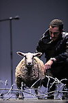 SHEEP..texte et conception Mohamed El Khatib..Avec : Samuel Dutertre, Olivier Morvan, Séverine Ragaigne, Sheep..maître-ovin Guilheim Rivaillon ..Lieu : Theatre de la Ville..Cadre : Danse Elargie..Ville : Paris..Le : 26 06 2010..© Laurent PAILLIER / www.photosdedanse.com..All Rights reserved