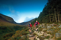 Climbing towards Slieve Donard alongside the Glen River, Mourne Mountains, Newcastle, County Down