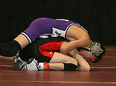 Chris Brienza and Rocco Rosso wrestle at the 96 weight class during the NY State Wrestling Championships at Blue Cross Arena on March 8, 2008 in Rochester, New York.  (Copyright Mike Janes Photography)