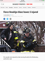 Brooklyn 2nd alarm rescue leaves five hurt. Shot for the NY Daily News.