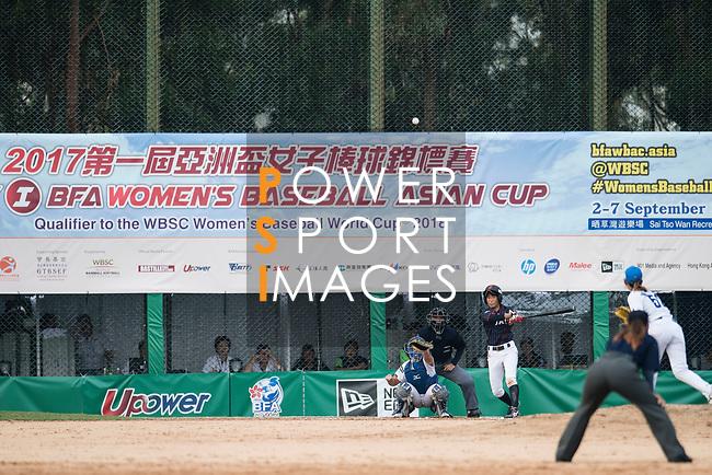 #25 Kitayama Miku of Japan bats during the BFA Women's Baseball Asian Cup match between South Korea and Japan at Sai Tso Wan Recreation Ground on September 2, 2017 in Hong Kong. Photo by Marcio Rodrigo Machado / Power Sport Images