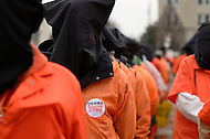 January 11, 2012  (Washington, DC)  Hundreds of people came to Washington to demand the closing of the Guantanamo prison on the tenth anniversary of its opening.  Protestors began in front of the White House and marched to the U.S. Supreme Court where they held a rally.   (Photo by Don Baxter/Media Images International)
