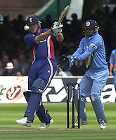 .29/06/2002.Sport - Cricket - .NatWest triangler Series England - Sri Lanka - India.England vs india 50 overs.  Lord's ground.England batting -  Andrew Flintoff, eye's the ball sfter his strike....