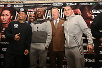 Floyd Mayweather and Frank Warren with Gervonta Davis (L) and Liam Walsh (R) during a Press Conference at the Landmark Hotel on 18th May 2017