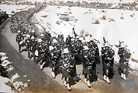 BNPS.co.uk (01202 558833)<br /> Pic: LaceyScott&Knight/BNPS<br /> <br /> Scottish pipe band led the troops up into the remote hill country.<br /> <br /> From the far reaches of the British Empire - Remarkable previously unseen photos of a forgotten military campaign has come to light 100 years later.<br /> <br /> The little known Waziristan campaign of 1919 and 1920 saw the British and Indian forces engaged in fierce fighting against Afghan tribesman who invaded northern India.<br /> <br /> However, the conflict, which saw the use of the might of the RAF in targeted bombing raids, has become almost lost to history since it took place just after the Great War.<br /> <br /> The battleground was the rugged, remote, mountainous region which is modern day northern Pakistan, on the southern border of Afghanistan.