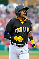 Indianapolis Indians outfielder Jason Martin (27) during an International League game against the Buffalo Bisons on July 28, 2018 at Victory Field in Indianapolis, Indiana. Indianapolis defeated Buffalo 6-4. (Brad Krause/Four Seam Images)