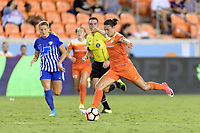 Houston, TX - Wednesday June 28, 2017: Carli Lloyd passes the ball during a regular season National Women's Soccer League (NWSL) match between the Houston Dash and the Boston Breakers at BBVA Compass Stadium.