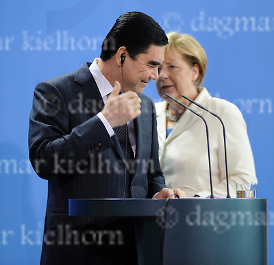 August 29-16,Chancellery,Berlin,Germany<br /> Turkmen President Gurbanguly Berdimukhamedov,l,after discussing selling gas to European Union countries, after a joint news conference with German Chancellor Angela Merkel.