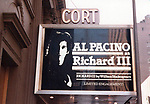 """Opening Night Theatre Marquee for Al Pacino as """"Richard III"""" on Broadway on June 14, 1979 at the Cort Theatre in New York City."""