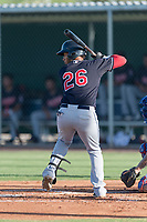 AZL Indians 1 first baseman Miguel Jerez (26) at bat during an Arizona League game against the AZL Cubs 1 at Sloan Park on August 27, 2018 in Mesa, Arizona. The AZL Cubs 1 defeated the AZL Indians 1 by a score of 3-2. (Zachary Lucy/Four Seam Images)