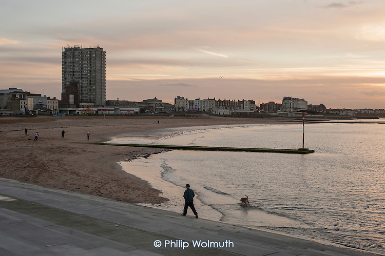 Margate beach and landmark Arlington House flats on the seafront.